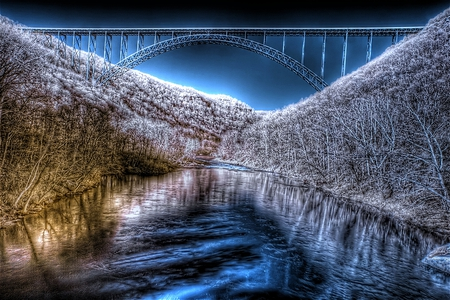 West Virginia in Winter - beautiful, blue, shimmer, cold, ice, bridge, new river gorge