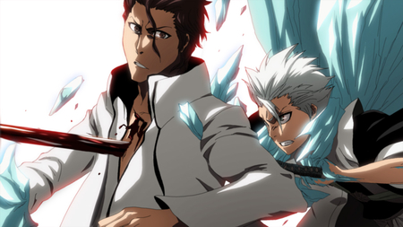 Aizen VS Toshirou - toshiro, white hair, aizen sousuke, sousuke aizen, soul reapers, spiky hair, hitsugaya, anime, stab, sword, aizen, bleach, toshirou, fighting, gritted teeth, blood, weapons, shinigami, battle, ice, fight, toushirou hitsugaya, hitsugaya toushirou