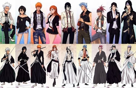 Bleach Characters - white hair, abarai renji, renji abarai, hoodie, ichigo kurosaki, spiky hair, anime, toushirou, ulquiorra, inoue orihime, ichimaru, n, kuchiki rukia, weapons, jacket, characters, toushirou hitsugaya, grimmjow jeagerjaques, orange hair, grimmjow, hitsugaya toushirou, ulquiorra schiffer, hood, kuchiki byakuya, toshiro, ichimaru gin, gin, espada, gin ichimaru, shorts, rukia kuchiki, zanpakutou, arrancar, rukia, bleach, swords, short skirt, ichigo, red hair, byakuya, orihime inoue, renji, shinigami, byakuya kuchiki, kurosaki ichigo, alternative clothes, orihime
