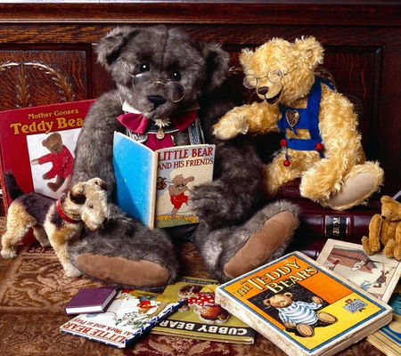 Teddy bears reading. - book, teddy bear, reading, dog