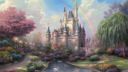 Fairytale Castle - lanterns, castle, deer, swans, painting, trees, beautiful, rainbow, fairytale, magical, garden