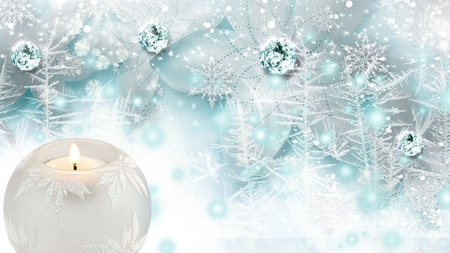 Delicate Winter - candle, jewels, christmas, firefox persona, diamonds, snowing, snow, bright, ice, flowers, light, blue, frost