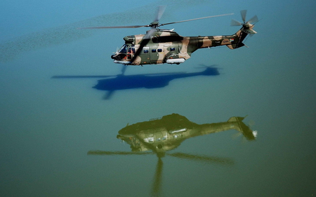 Atlas Reflection - atlas, water, helicopter, military, reflection, lake, oryx, chopper