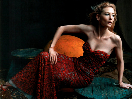 Cate Blanchett - female, long red dress, actress, long hair, blue eyes