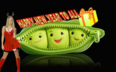 ✮ ☃ ✯ Peas_-happy-new-year ✌❤ - peas, 2012, green, new year