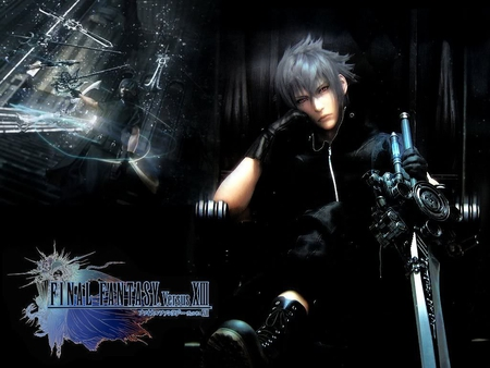 Noctis Lucis Caelum - noctis lucis caelum, noctis, boots, white hair, video games, ff13, final fantasy versus 13, gloves, final fantasy series, spiky hair, final fantasy, swords, FF15, weapons, Final Fantasy XV, sitting, final fantasy 13, red eyes