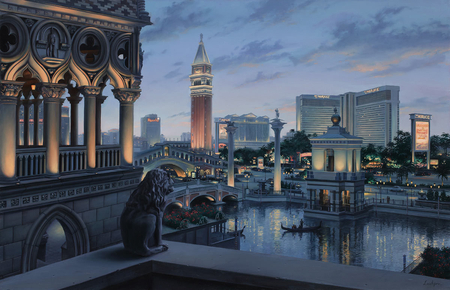 Eugeny Lushpin - I love Las Vegas - las vegas, painting, eugene lushpin, architecture, evening, usa, lushpin, city, lights, eugeny lushpin