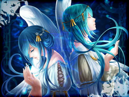 Hatsune Miku - female, dress, hatsune miku, pigtails, together, diva, clone, girl, blue hair, anime, sing, long hair