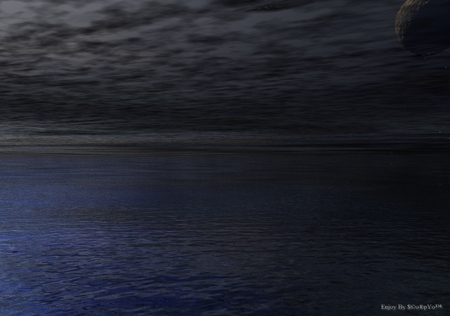 Lovely Darkness - oceans, planets, sky, clouds, fanstasy, moon, water, dark, reflections
