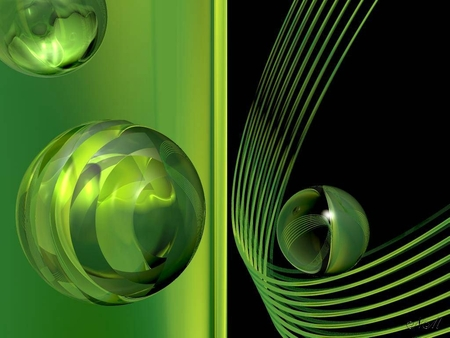 Fantasy in Green - textures, fantasy, balls, green, spheres, globes, ribbons