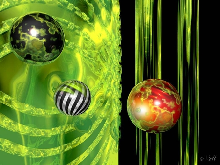 Floating Orbs - orbs, fantasy, balls, green, space, floating, spheres