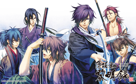 The Shinsengumi - okita souji, staff, green eyes, hijikata toushizo, hakuouki, hijikata toushizou, warriors, group, spiky hair, samurai, anime, purple eyes, long hair, blue eyes, harada sanosuke, swords, male, purple hair, shinsengumi, red hair, kimono, ryuunosuke ibuki, weapons, toudou heisuke, blue hair, hakuouki shinsengumi kitan, katana, characters, saitou hajime