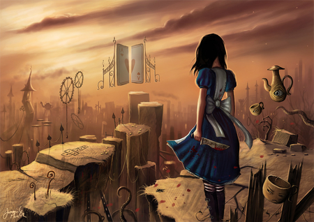 Alice - games, video games, clouds, knife, fantasy, cogs, female, alice, american mcgees alice, sky, blood, weapons, alice in wonderland, girl, cards, lone, gates, alice madness returns
