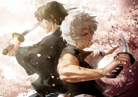 I Got Your Back! - katsura kotaro, sakura, swords, fighting, male, man, samurai swords, gintama, samurai, anime, gintoki sakata