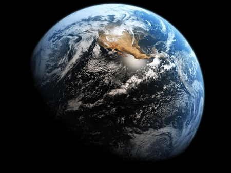 beautiful world - world, land, scifi, space, water, beauty, universe, round, earth, planet