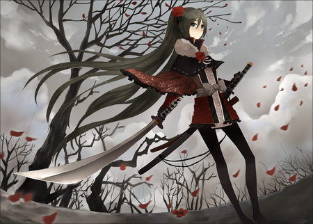 Hatsune Miku - vocaloid, samurai, hatsune miku, anime, green eyes, trees, sword, black hair
