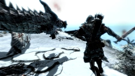 Slaying a Dragon - powerful, v, high definition, shield, plant, tired, magic, the elder scrolls, dragon, bows, angry, mountain, stones, level, helmet, wallpaper, heavy armor, sword, the way, the way of the voice, fighting, custom, 4, nord, happy, water, altitude, snow, exceptional, unstoppable, hd, slaying, shout, bow, arrow, 5, 1, big, stone, good, skyrim, low, the voice, mage, light, 2, the elder scrolls 5 skyrim, amazing, quality, high, arrows, armor, warrior, tree, dark, plants, running, oblivion, 3