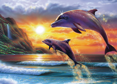 DOLPHINS DUSK - Dolphins & Animals Background Wallpapers ...