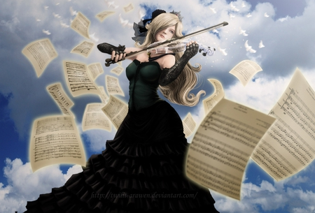 Rosalina Princess - dress, sound, rosalina, black dress, heaven, hot, beauty, anime girl, sing, violin, female, cloud, music, birds, smile, blonde hair, sky, sexy, black gloves, cool, song, twilit arawen, hair bow, super mario bros, princess, musical instrument