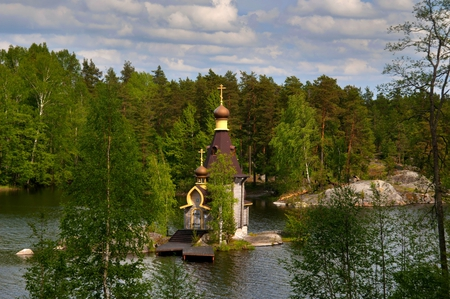River Church - pretty, vyks, petersburg, trinity, beautiful, trees, sky, clouds, st, water, temple, russian, classic, saint