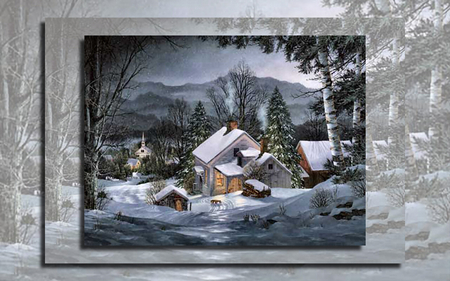 Suppertime 1 - art, house, fred swan, swan, artwork, winter, snow, painting, wide screen, scenery, landscape