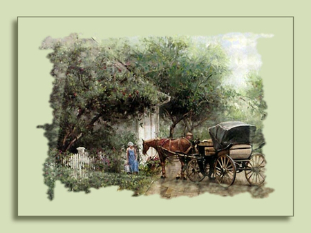 Horse and Carriage 1 - art, cityscape, equine, trees, horse, artwork, carriage, people, painting, scenery, landscape