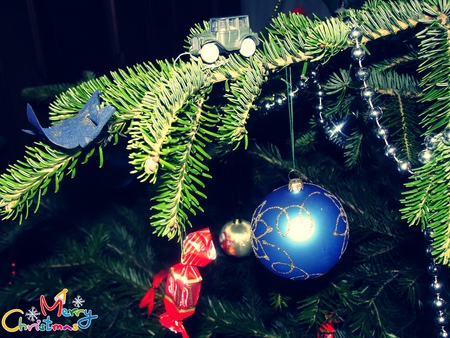 Christmas decoration/Car on a christmas tree - photography, christmas, car, abstract, blue