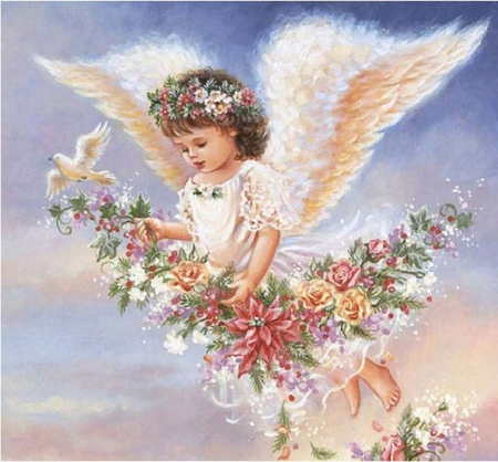 By Dona Gelsinger - cute, art, angel, painting, flower, wing, dona gelsinger