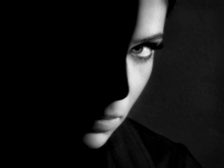 Black & White - beauty, mysterious, photoshop, shadows, lips, face, eyes, black and white, woman, photography, special, beautiful
