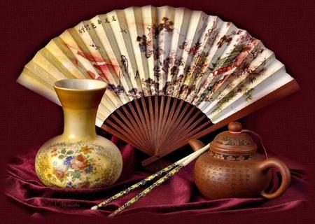 Oriental still life. - teapot, oriental, fan, still life, chopsticks, vase