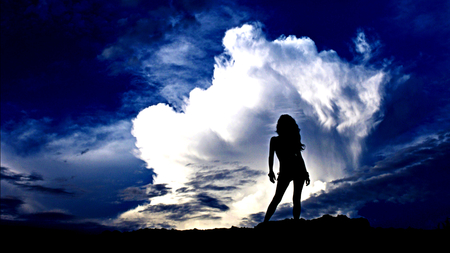 Silhouette - female, sky, woman, silhouette, clouds, girl, nature, blue sky, blue