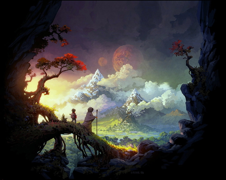 Fantasy land - lovely, paint, colors, beautiful, magic, clouds, mountain, fantasy, computer, graphik, land
