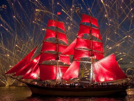tall ship - ship, sail, red, boat