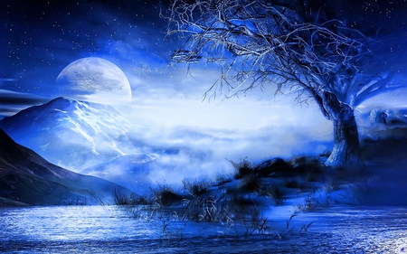 Blue dream - blue, moon, water, tree, mountain
