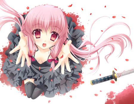 Gasai Yuno - dress, girl, anime, gasai yuno, petals, sword