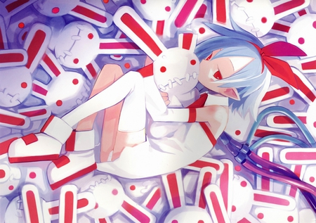 Plenair - red, pale, ribbon, short, hair, demon, weird, stitch, bunnies, blue, disgaea