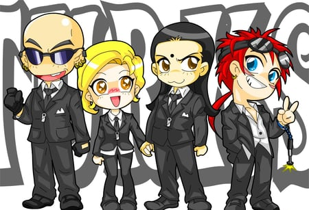 TURKS - turk, elena, reno, black suits, rude, shinra, tseng