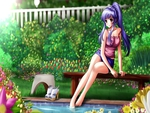 Anime resting on a bench