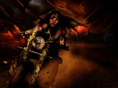 ghost rider escape from the burning city - free, glow, action, orange, los angles, bolt, hell, motorbike, clouds, stormcloud, sand, city, amazing wallpaper, rider, wallpaper, wild, pursuit, alien, america, smoke, lady ghostrider, attack, luis royoinspired, danger, thunder, storm, fire, flames, la, dirt, dust, brunnete