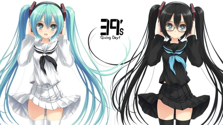39's Giving Day - pretty, stunning, cg, thigh highs, nice, anime, aqua, beauty, anime girl, vocaloids, school uniform, art, japanese, twintail, skirt, black, miku, singer, sexy, aqua eyes, cute, school, headset, hatsune, cool, digital, awesome, white, idol, artistic, glow, hatsune miku, headphones, glasses, tie, concert, beautiful, thighhighs, program, twin tail, hot, light, black hair, blue, vocaloid, 39s giving day, outfit, amazing, music, diva, leggings, song, girl, stockings, uniform, virtual, aqua hair, micrphone