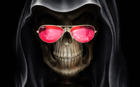 Grim Reaper - skeleton, halloween, 3d and cg, bone, horror, grim reaper, scare, graveyard, creatures, scary, legend, terror, dead, black, abstract, demon, cool, ghost, moonlight, grim, eyes, red, death, black and white, evil, twilight, picture, sunglasses, reaper, darkness, hot, bones, other, night, dark art, mysterious, grave, 3d, myst, dark, drawing, funny, skull, creature