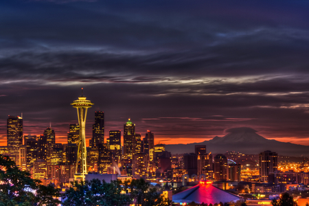 Sunrise Over Seattle Photography Abstract Background