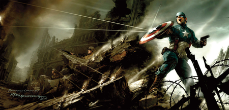 captain america - weapons, bullets, soldier, buildings, smoke, barbed wire