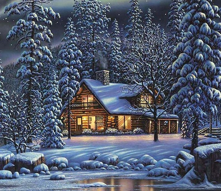 Winter cottage - christmas, winter, ice, painting, cottage, tree, art