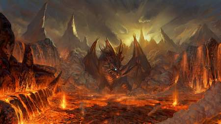 Dragons Nest - fire, glowing, lava, dragon, mountain, red