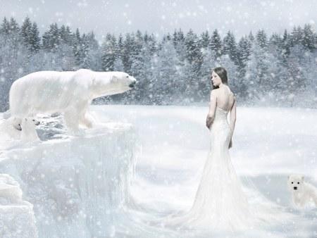 Arctic Queen - queen of the winter, bears, season, cg girl