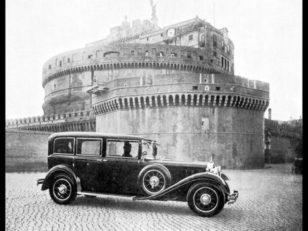 The Original Popemobile - castles, automobiles, photography, popes, black and white, rome, transportation