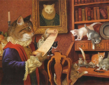 Papa Gatto, by Ruth Sanderson - art, ruth sanderson, painting, cub, cat, animal