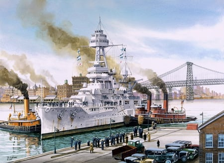 USS Texas - uss, painting, class, boat, york, texas, battleship, battle, ship, drawing, art, new