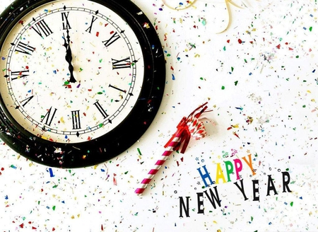Happy new year - red, confetti, time, yellow, clock, abstract, year, happy, new, colours, gren, blue